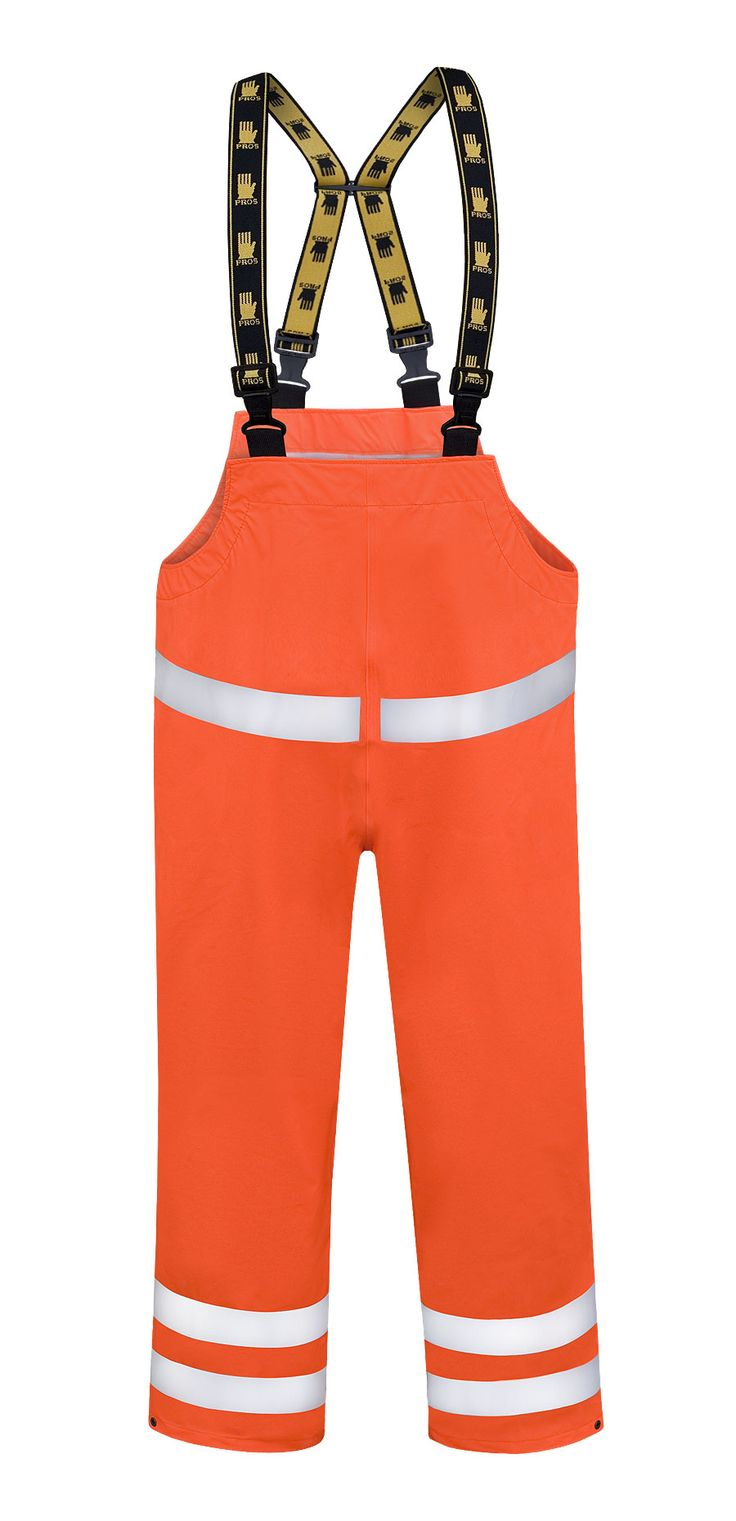 WATERPROOF WARNING BIBPANTS Model: 087 The bibpants have adjustable elasticated braces and side and legs adjustement by snaps. Reflective tapes on bibpants make workers more visible. The bibpants are made of light waterproof and breathable fabric called Aquapros and the model has been designed to be used at unfavorable weather conditions when visibility is limited. Thanks to double welded high frequency seams the product protects against rain and wind.
