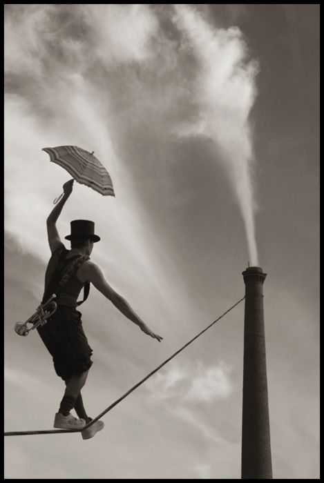 Tightrope walker. Love the black and white.