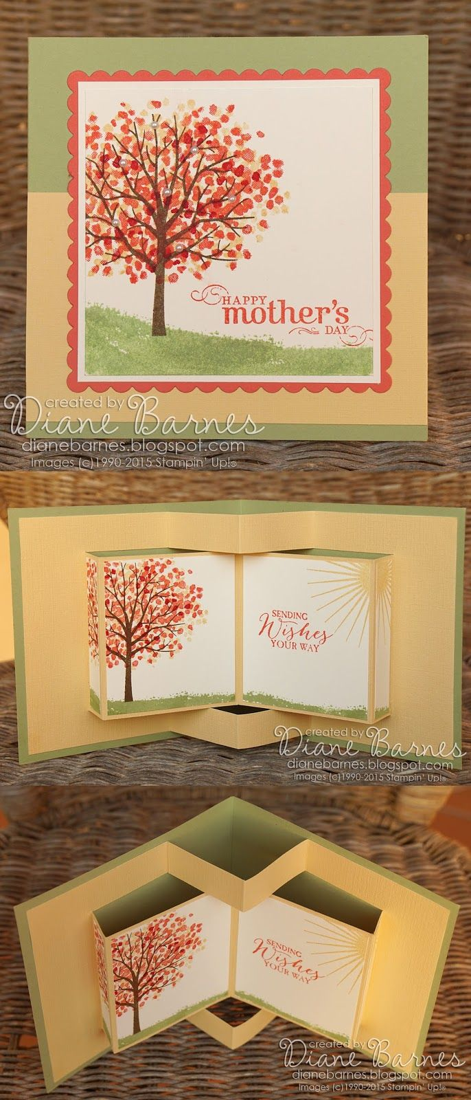 pop up book fancy fold card using Stampin Up Sheltering Tree with pdf template. By Di Barnes #colourmehappy