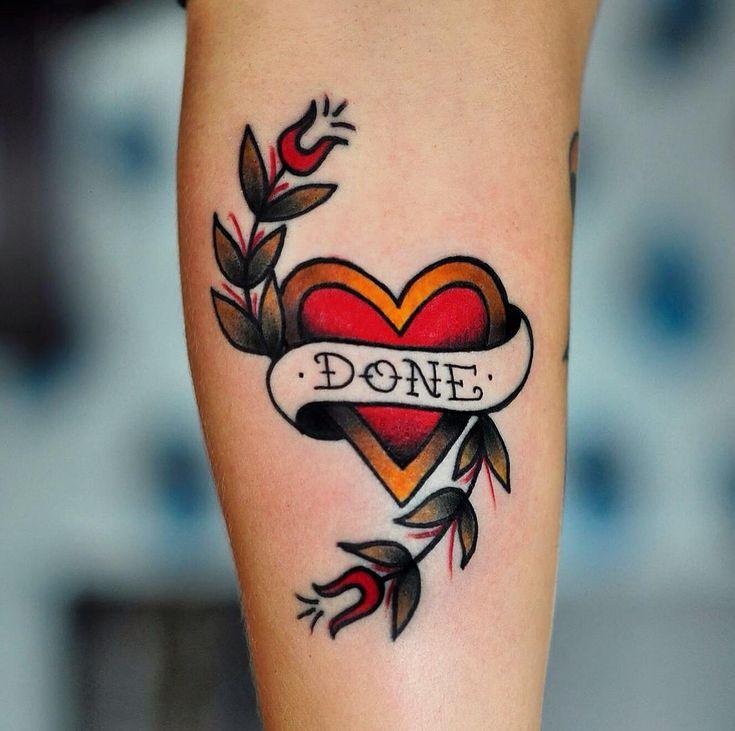 Small yet stunning, traditional heart tattoo by Portuguese tattoo artist Rockavin Tattoos. Instagram: @rockavintattoo.