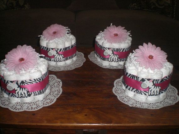 Zebra Hot Pink Diaper Cake BAby SHower by bearbottomdiapercakes, $12.00
