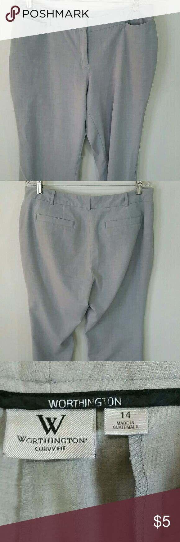 LADIES WORTHINGTON DRESS PANTS . LADIES WORTHINGTON DRESS PANTS,  SIZE 14, CURVY FIT, MADE IN GUATEMALA,  71%POLYESTER,  4%SANDEX,  25%RAYON,  MACHINE WASH COLD,  INSEAM 311/2IN., WAIST 36IN. COLOR LIGHT GREY, MISSING BUTTON ON FRONT CLOSURE. WORTHINGTON Pants