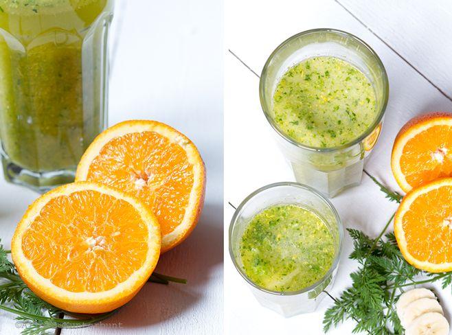 Green Smoothie, Smoothie, Rezept Green Smoothie, Smoothie mit Salat, Veggie. Fruchtsaft, Frühstückssmoothie, Vitamine, Smoothie mit Orange, Mango, Banane,