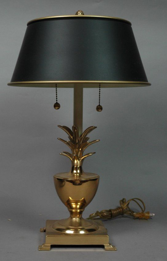 Hollywood Regency Brass Pineapple Lamp