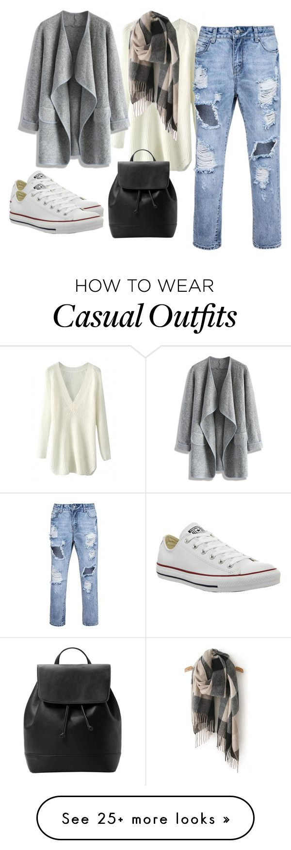"""""""casual outfit"""" by nurkovicselma on Polyvore featuring moda, Converse, Chicwish y MANGO"""