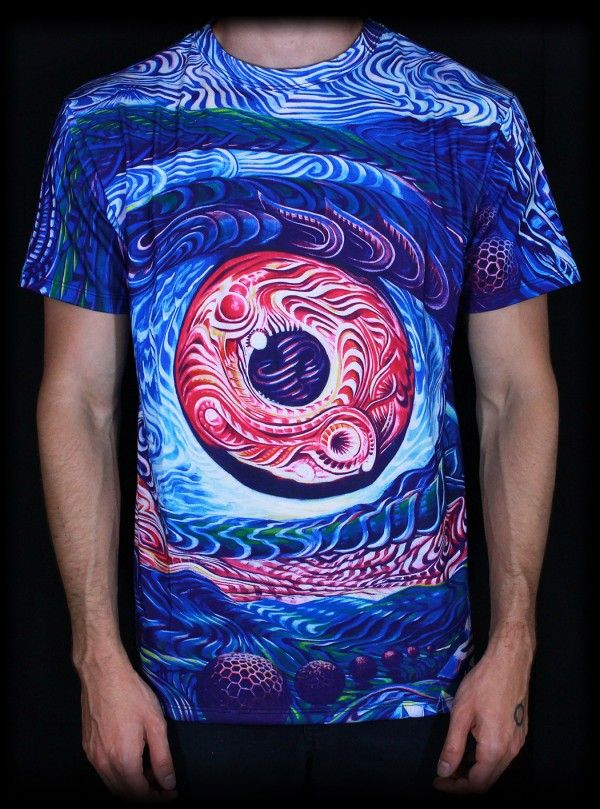 Psychedelic T-shirt, 'Psy Shroom'. All over sublimation print. Trippy T-shirt, UV active, trancewear, festivalwear, visionary art, mushroom
