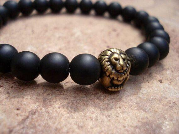 Matte Black Onyx Bracelet, Antique Brass Lion Bracelet,Men Onyx Bracelet,Men Beaded Bracelet,Men Jewelry,Mens Bracelet,Women's Bracelet