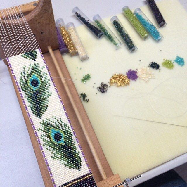 Peacock Feathers on the bead loom. This one has an intricate design in some lovely bead finishes.