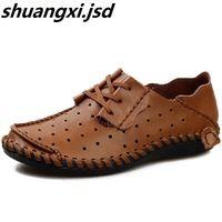Zapatos de los hombres Venta Caliente de la Manera de Gran Tamaño 39-50 Yardas hombres Zapato De Cuero Genuino Transpirable Túnel Hueco Salvaje Marea Sandalias de Hombre zapatos