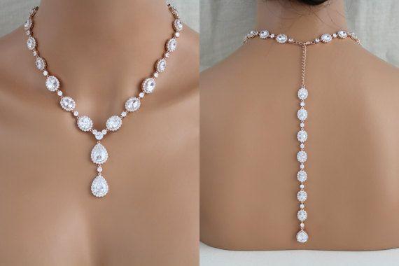 Rosa collana sullo sfondo d'oro, oro rosa collana nuziale, gioielli di nozze, rosa orecchini in oro, retro collana, collana di istruzione, Swarovski