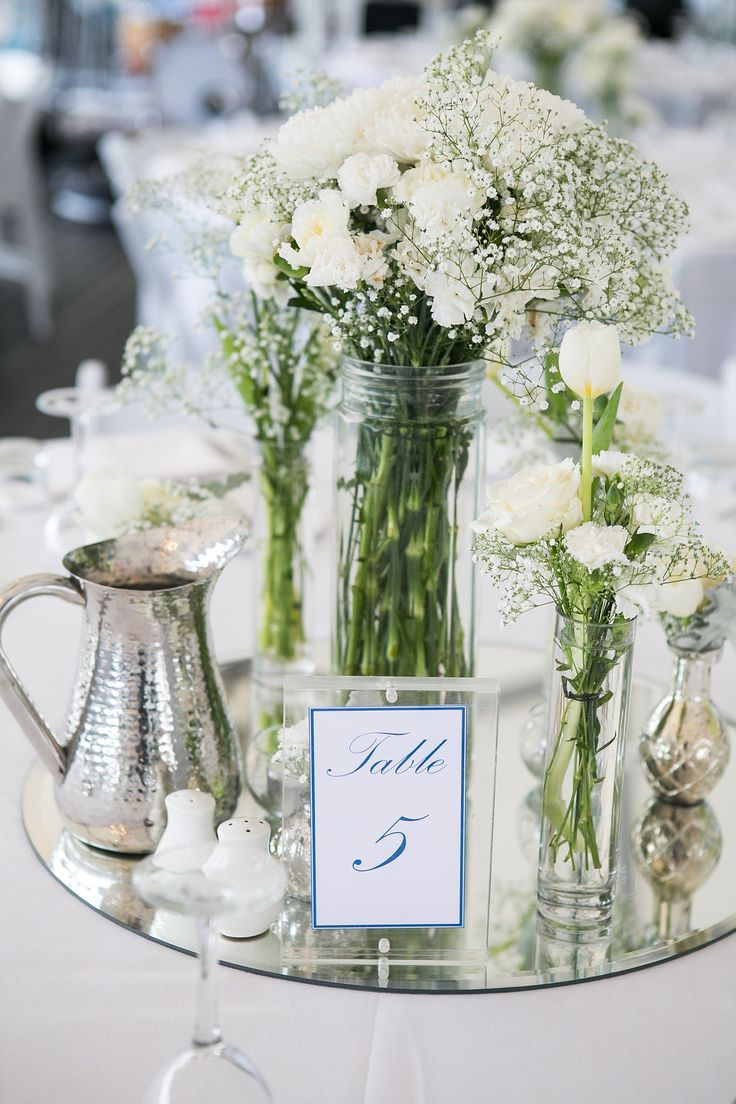 White wedding flowers | Mirror base table setting | Brisbane marquee wedding | Riverlife