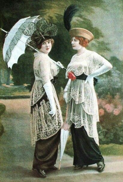 "Afternoon fashions, 1913. Reminds me of the Ascot dresses in ""My Fair Lady""!"