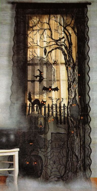 Halloween-Craft idea-spooky window covering