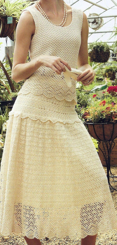 Encaje de ganchillo elegante 2 piezas falda por HeirloomsbyAntonia                                                                                                                                                                                 Más