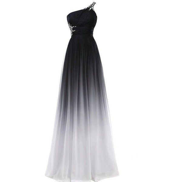 Beaded One Shoulder Black and White Long A Line Gradient Chiffon... (£72) ❤ liked on Polyvore featuring dresses, long chiffon dress, long dresses, a line prom dresses, chiffon prom dresses and one shoulder cocktail dress