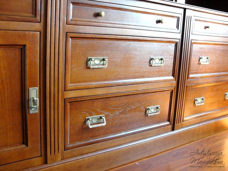 dębowa biblioteka, wooden drawers, traditional home bookcases cabinets - wykonanie Artystyczna Manufaktura