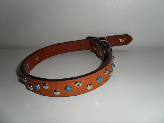 "Turquoise & Silver Bling on Tan Leather Dog by StarBoundWestern, 15"" genuine leather collar  $35.00"