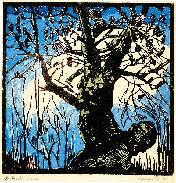 """The Old Banksia Tree"" in 1939 by Margaret Preston. Relief woodcut, printed in black ink, from one block; hand-coloured"