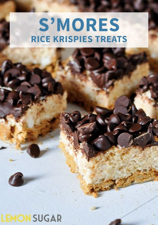 First, take a delicious mixture of graham crackers, butter, and marshmallows then layer on a gooey cereal combination with chocolate chips to create this scrumptious recipe for S'mores Rice Krispies Treats®!