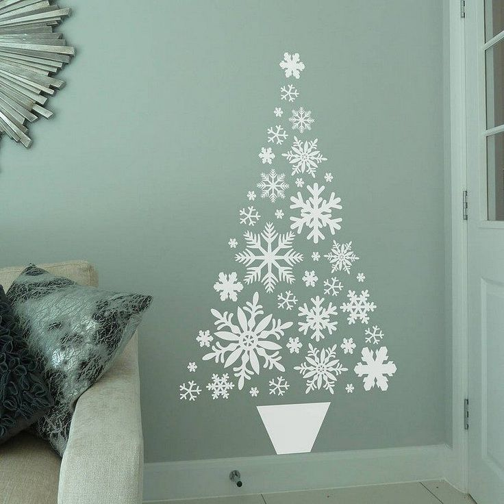 sapin de Noël original- sticker en flocons blancs qui forment un sapin
