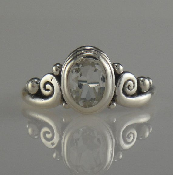 Sterling SIlver Ring with White Topaz by DenimAndDiaJewelry, $220.00
