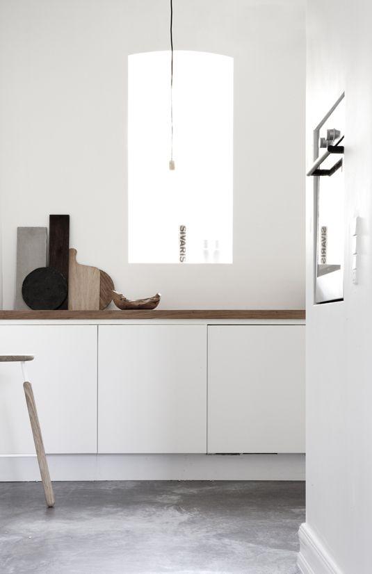 Jonas Bjerre-Poulsen via Emmas Design Blog: Living Rooms, Wood Kitchens, Interiors Design, Wood Countertops, Concrete Floors, Design Home, White Cabinets, Design Blog, White Kitchens
