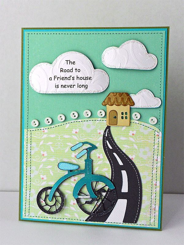 Cricut Cartridges Used: Lite B is for Boy (bike), Going Places (clouds), Create A Critter (house)