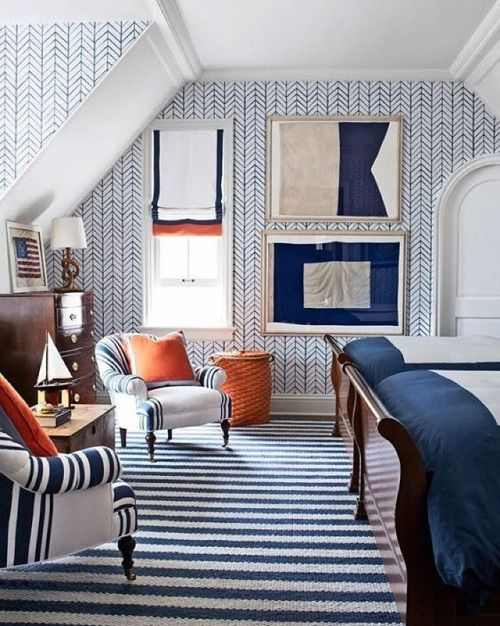 Interior by @suzannekasler , photo credit: @williamwaldronphoto . Thanks  @karenkeysar. Nautical InteriorNautical BedroomNautical DesignThe ...