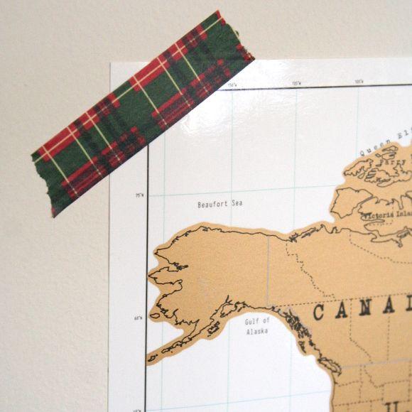 Canadian man cave - plaid washi tape detail.