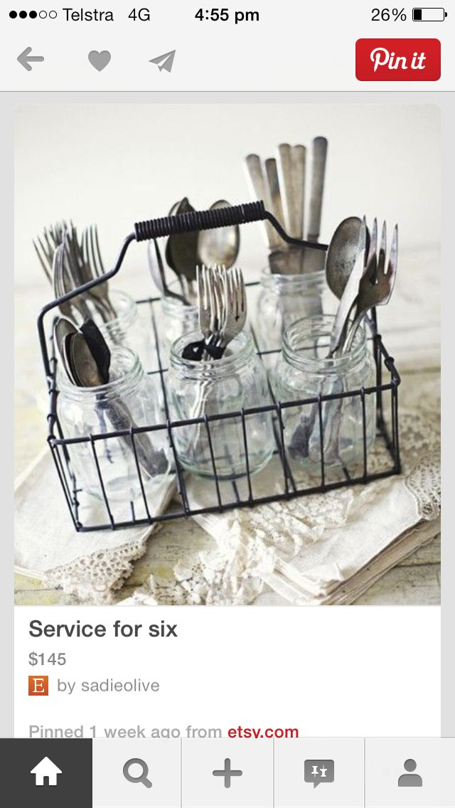 How To Set Silverware On The Table Part - 40: Spray Paint Basket Any Color. And Then Use Mason Jars To Put Silverware Or  Office Supplies. Great For Outside Parties!