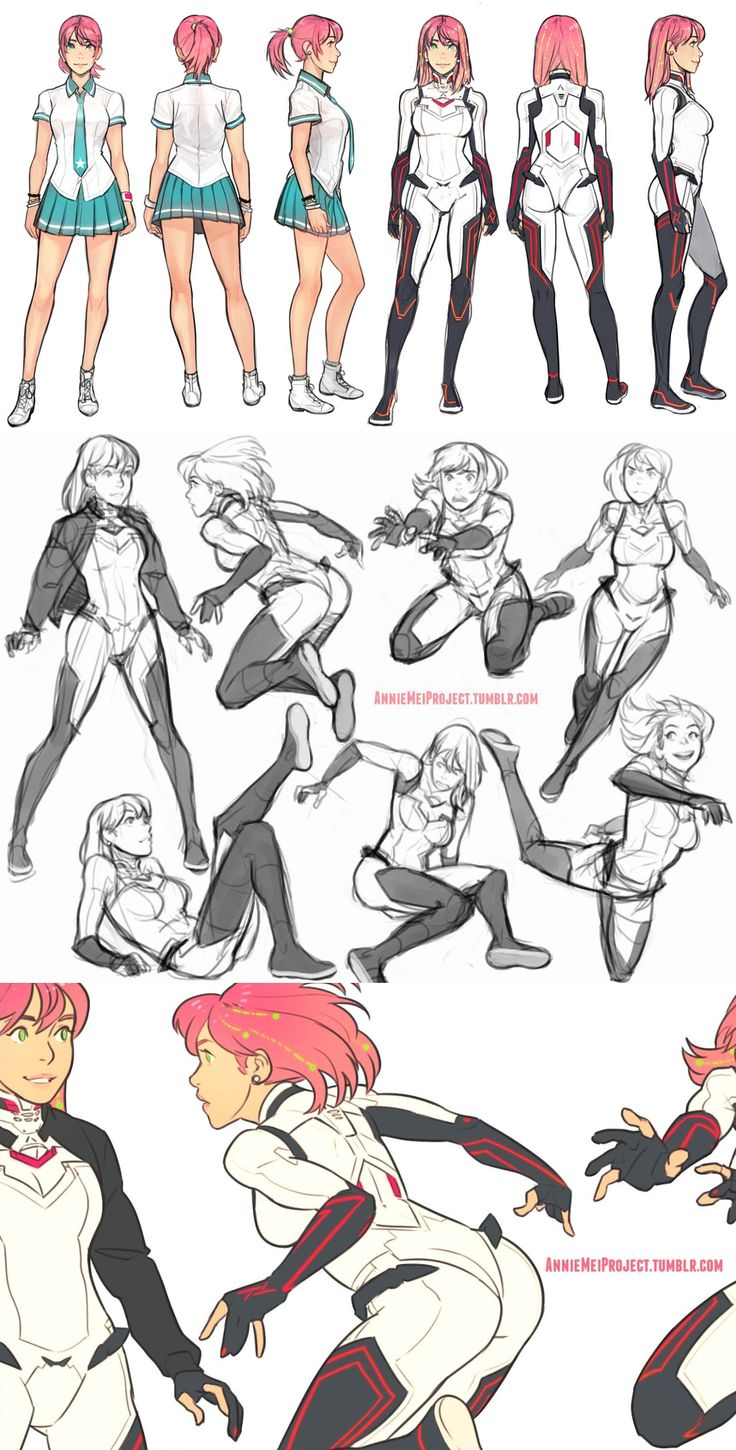 Female Poses - School Uniform - Fighting Uniform - Character Design and Drawing Reference