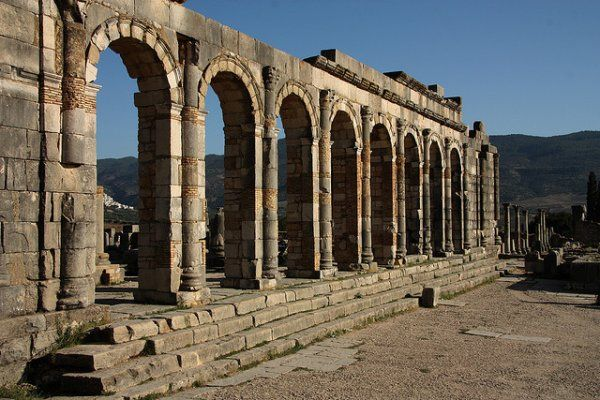 """A view of the Roman town, Volubilis, previously """"Walili,"""" the capital of the Berber kings Juba II and his son, Ptolemy of Mauretania."""