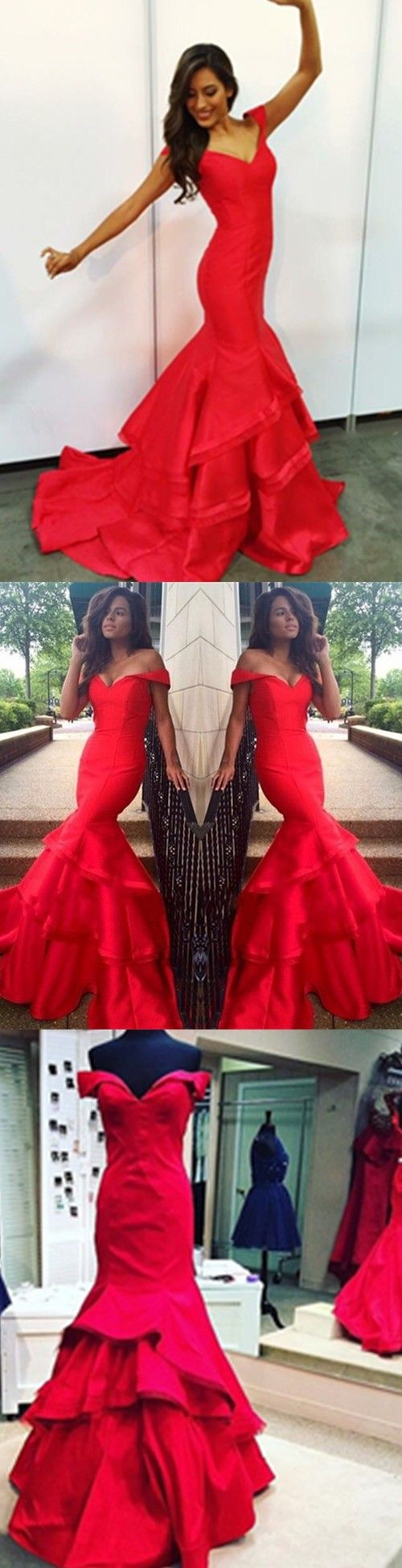 Sexy Mermaid Prom Dresses 2017 Red Full Lace Prom Dresses V Neck Backless Evening Dresses ,Sexy Backless Evening Dress, Red Prom Dress, Off the Shoulder Prom Dresses, Red Formal Dress, Long Prom Gowns, Mermaid Prom Gown