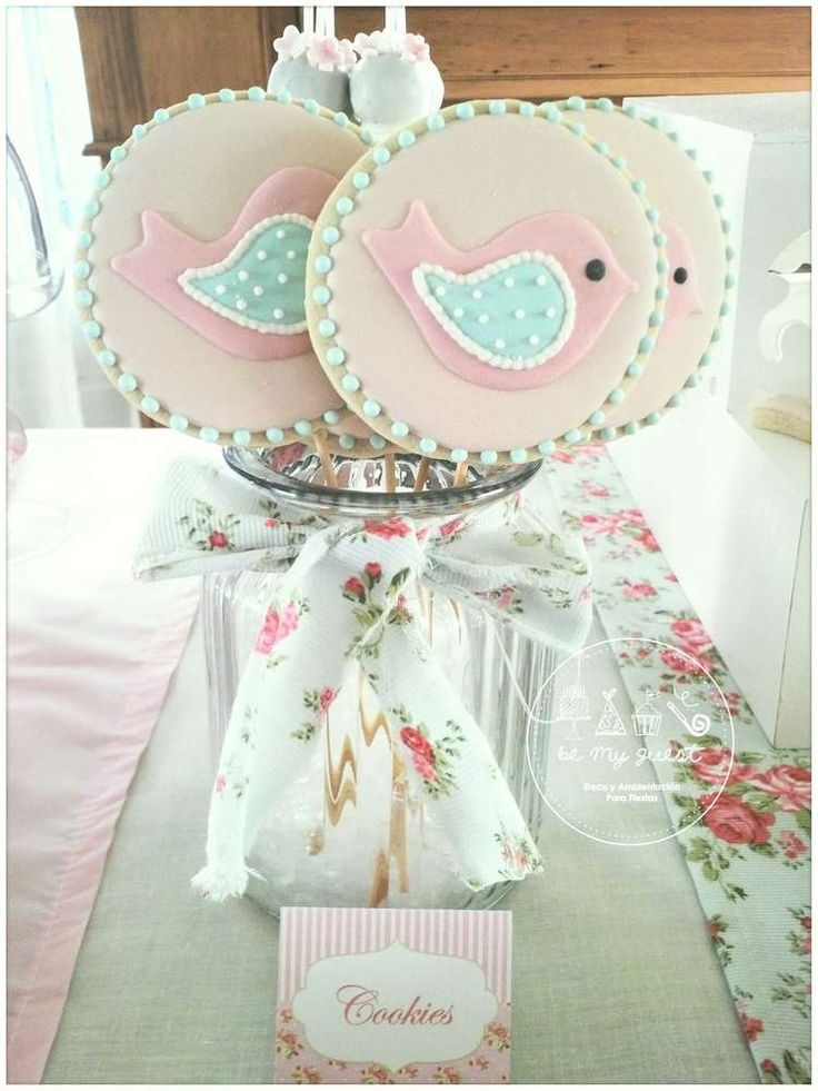 Bird cookie pops at a romantic shabby chic baptism birthday party! See more party ideas at CatchMyParty.com!