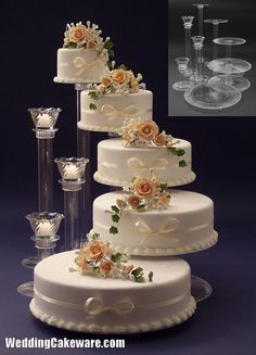 5 Tier Cascading Wedding Cake Stand Stands 3 Candle