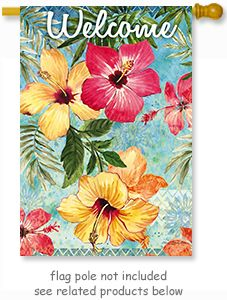 "Watercolor Hibiscus Flag  from Evergreen's Suede Reflection Collection by artist Elena Vladykina.  Size: 29"" x 43""  Free Shipping in the USA.  @justforfunflags"