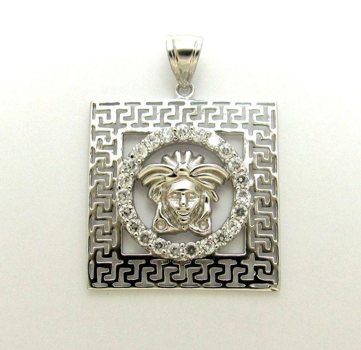 versace 925 Sterling Silver Medusa Head Greek Design Pendant Square #New #Pendant