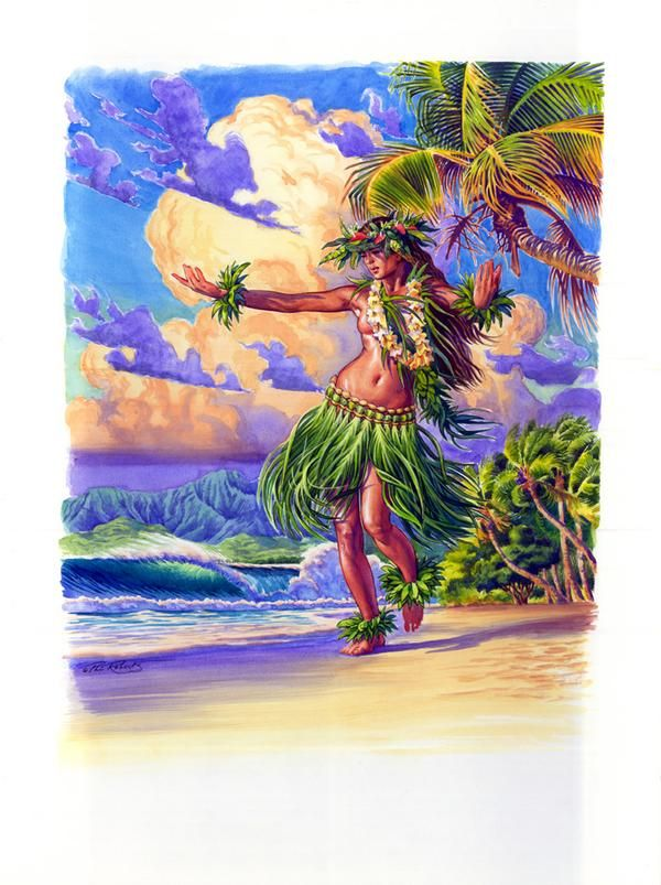 Hula girl-water color from Phil Roberts (Phil Roberts Studio) on Myspace