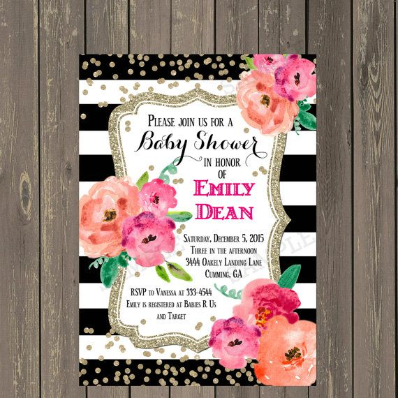 Black and White Baby Shower Invitation Black & by PartyPopInvites