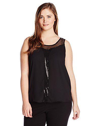 Wear To Work Flyn Sequin Mesh Detail Tank  www.weartowork.us #weartowork #Blouse