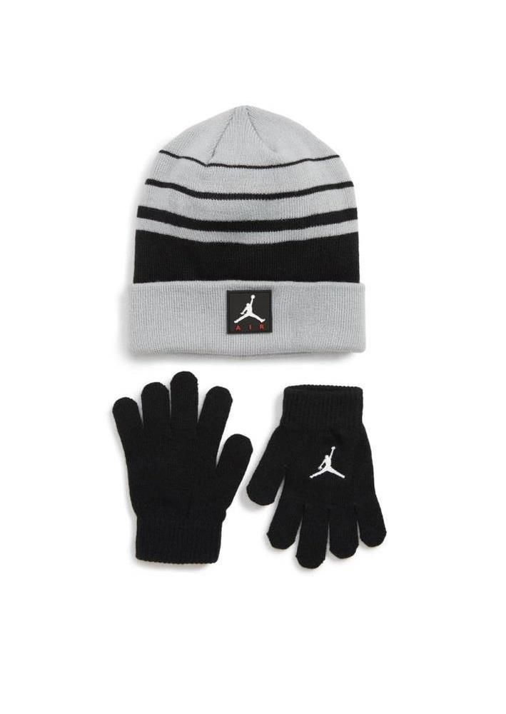 0b90385f Nike Boy's Jordan Air Beanie and Gloves Set Wolf Gray/Black 9A1953-G3A #Nike
