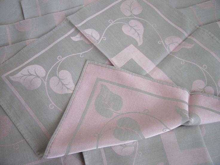 "Vintage Light Grey Pink Damask Tablecloth 12 Matching Napkins Philodendron 98"""