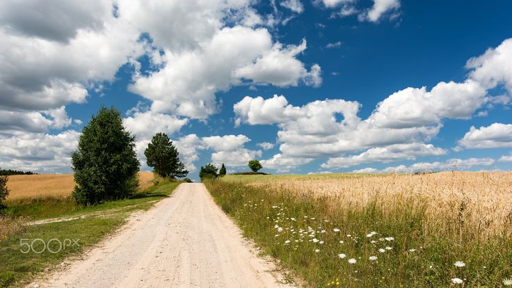 Road up to the hill - Road on north eastern part of Poland (Sejneńszczyzna) on summer sunny day.