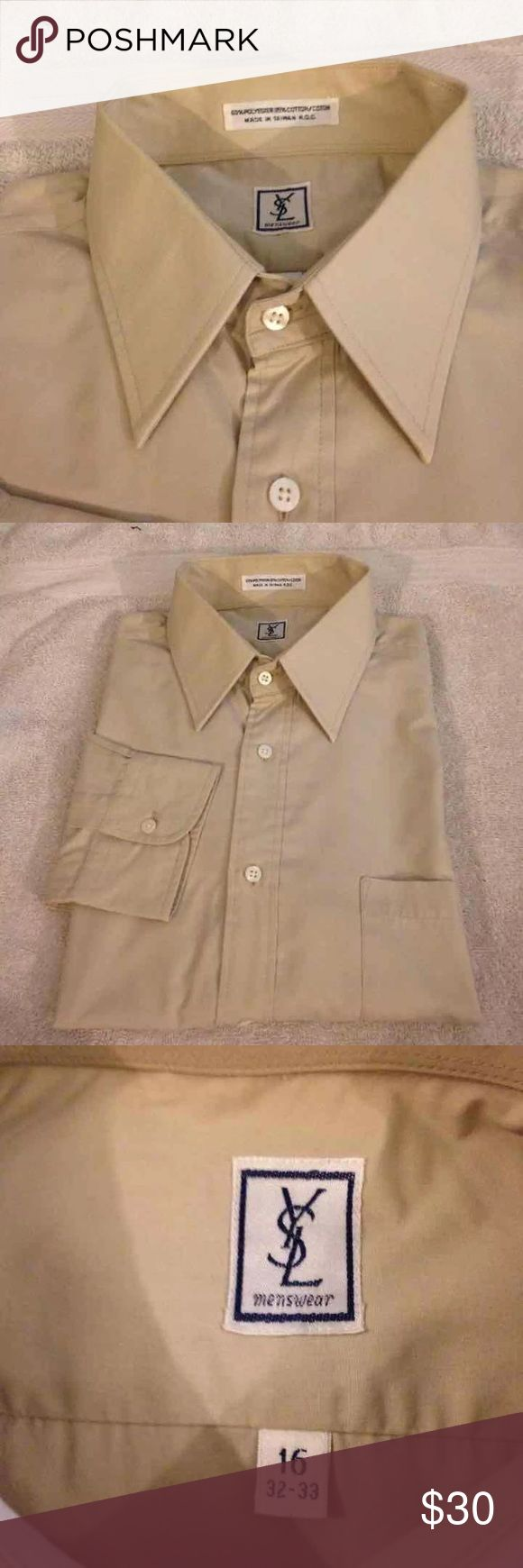 Yves Saint Laurent Tan Shirt 16 32/33 Yves Saint Laurent YSL Solid Tan Dress Shirt size 16 32/33! Great condition! Please make reasonable offers and bundle! Ask questions! :) Yves Saint Laurent Shirts Dress Shirts