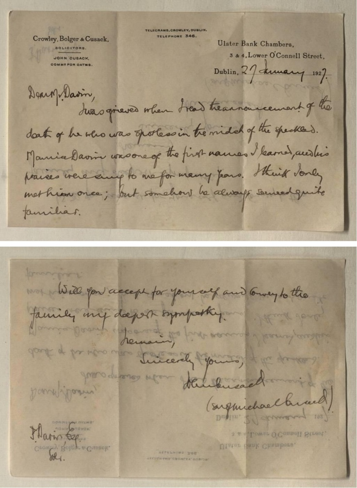 Letter written by the son of Michael Cusack, sympathising with the Davin family on the death of Michael Davin, 1927.