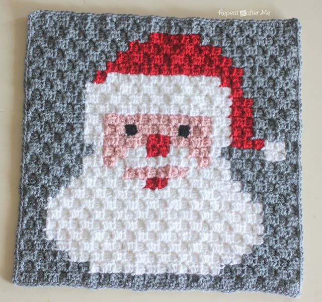 Repeat Crafter Me: Crochet Santa Pixel Square - Free Crochet Pattern