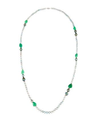 Mixed+Pearl+&+Chrysoprase+Rope+Necklace+by+Belpearl+at+Neiman+Marcus+Last+Call.