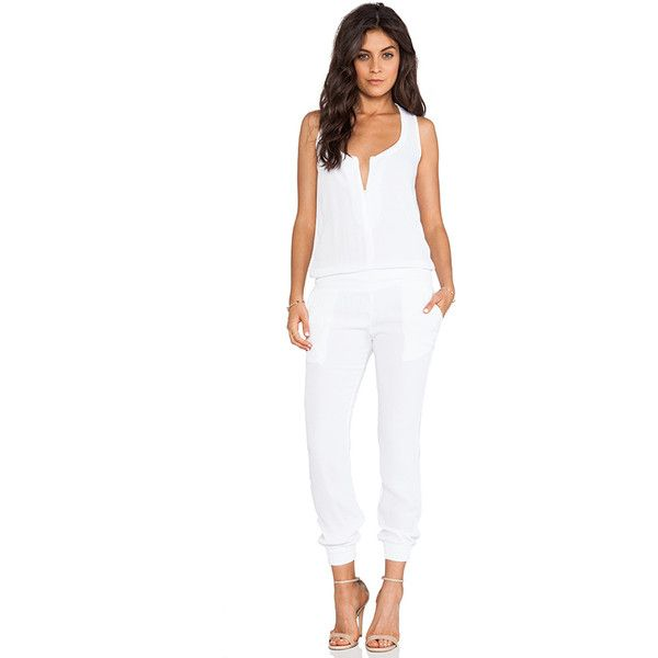 MONROW Crepe Jumpsuit Jumpsuits ($158) ❤ liked on Polyvore featuring jumpsuits, rompers & jumpsuits, monrow, white romper, romper jumpsuit, white jumpsuit romper and white jump suit