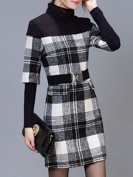 Slit Plaid Print Mini Dress with Belt
