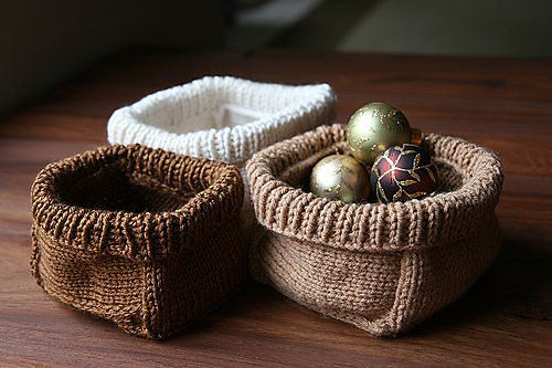 Soft Baskets by Joelle Hoverson  from more last minute knitted gifts  knitting pattern